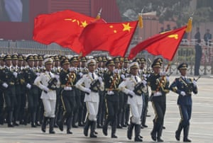 Chinese soldiers march during the parade in Beijing
