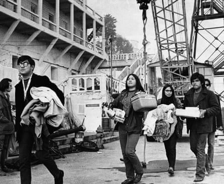 People arrive during the Native American occupation of Alcatraz Island in San Francisco in November 1969.