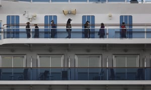 Quarantined passengers exercise on the Diamond Princess cruise ship.