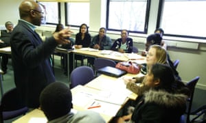 Students in a seminar at Newham College of Further Education, London.
