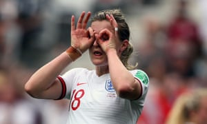England's Ellen White celebrates scoring her side's second goal against Scotland in the Women's World Cup Group D match in Nice.