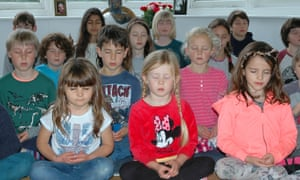 Children at the Buddhist-based Dharma Primary School in Brighton take a class in mindfulness.