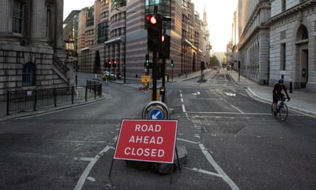 A road closed to traffic in London, UK.