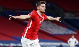Poland's Jakub Moder celebrates scoring their first goal