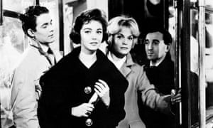 Jacques Charrier, Dany Carrel, Estella Blain and Charles Aznavour in the film Les Dragueurs (The Chasers, 1959), directed by Jean-Pierre Mocky.