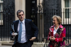 Parliamentary Secretary to the Treasury (Chief Whip) Julian Smith and Leader of the House of Commons Andrea Leadsom leaving today's Cabinet meeting.