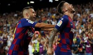 Jordi Alba celebrates.