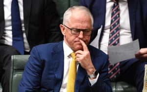 Malcolm Turnbull listens during question time