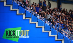 Chelsea fans pictured alongside a Kick it Out slogan during their match against Cardiff in September.
