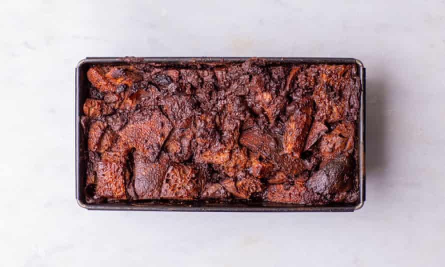 Tom Hunt's chocolate, brown banana and sourdough bread pudding.