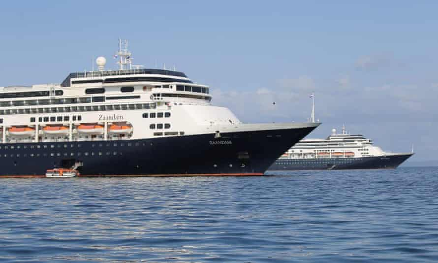 Holland America Line cruise ship MS Zaandam and her sister ship Rotterdam in Panama Bay