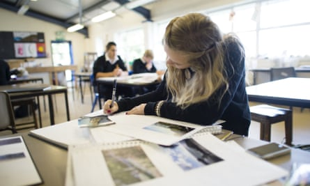 A secondary school pupil in an art class. Last year 84.2% of children were offered a place at their top choice school.