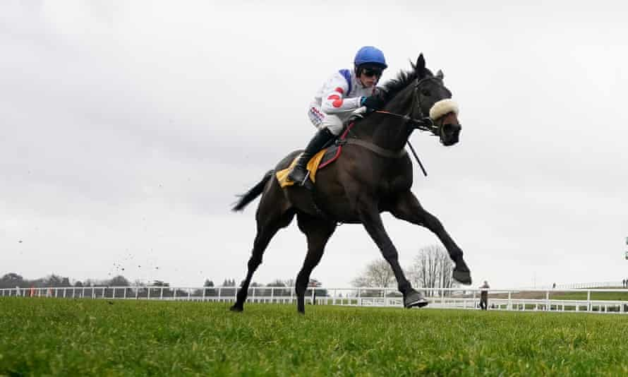 Clan Des Obeaux clears the last to win at Ascot last month – he is a good bet to repeat the feat in the Cheltenham Gold Cup.