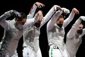 Italy's bronze medal-winning team foil fencing team
