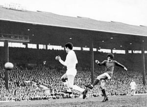 Best lets fly past the challenge of Sanchis to score the only goal of the game as United defeated Real Madrid in the first leg of the 1968 European Cup semi-final