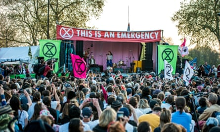 Greta Thunberg speaks to an Extinction Rebellion rally at Marble Arch, central London.