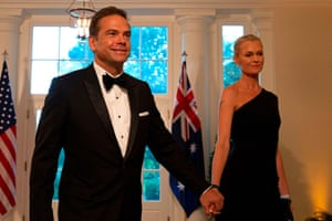 Lachlan and Sarah Murdoch arrive at the White House for the state dinner honouring Scott Morrison