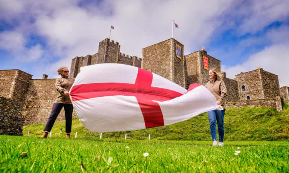 One of the St George's flags featuring the surnames of almost every person in the country which will fly above historic properties to cheer on England.