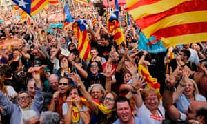 Supporters of Catalonian independence celebrate in Barcelona