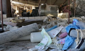 Debris at a medical facility in Maaret al-Numan that was bombed on Monday
