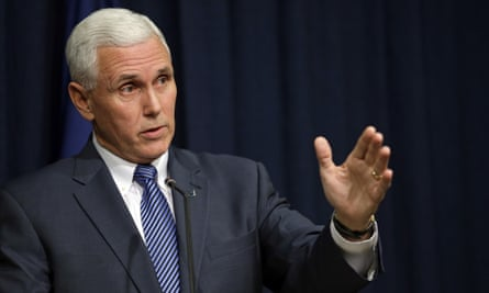 Governor Mike Pence holds a news conference at the statehouse in Indianapolis on 26 March 2015 after signing into law a religious objections bill that that many saw as condoning discrimination against LGBT people.