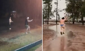 Men dance in the rain in drought-hit Bourke, New South Wales, Australia, and a farmer celebrates the rain in his undies