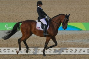 USA's Angela Peavy onboard Lancelot Warrior during her round in the individual championship test grade III at the Olympic Equestrian Centre