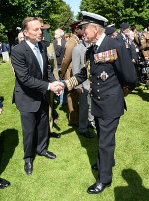 26 January 2015: Tony Abbott makes his most famous 'captain's call' and dismays and angers those at the top levels of his government by awarding an Australian knighthood to Prince Philip. Government MPs broke ranks to publicly criticise the move, saying that there were more deserving Australians. This act led directly to the 'near death experience' in the party room at the resumption of the parliamentary sitting year in February. This picture of Abbott and Prince Philip together was taken during D-Day commemorations in Normandy in June 2014.