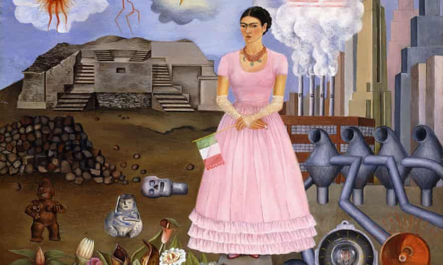 Frida Kahlo's Self Portrait on the Border between Mexico and the United States of America, 1932 (Details; full image below).