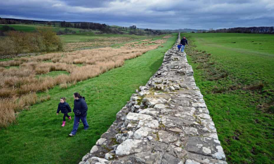 Members of the public visit Hadrian's Wall at Birdoswald,