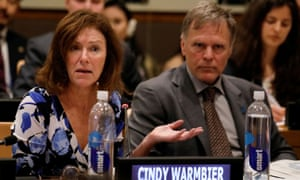 Cindy and Fred Warmbier at the UN headquarters in New York last year. They said: 'We have been respectful during this summit process. Now we must speak out.'