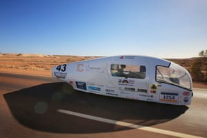 The Ardingly College Solar car, Ardingly Solar, from the UK competes in the adventure class in Coober Pedy