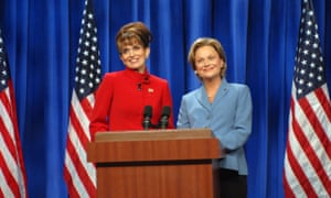 Tina Fey as Sarah Palin and Amy Poehler as Hillary Clinton in Meyers's SNL sketch.during the 'A Nonpartisan Message From Sarah Palin & Hillary Clinton' skit on September 13, 2008 (Photo by Dana Edelson/NBC/NBCU Photo Bank via Getty Images)