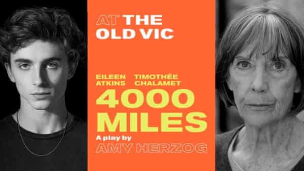 Poster for 4,000 Miles at the Old Vic.