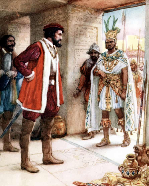 Hernando Cortez meets the Aztec Emperor Montezuma II.