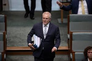 Prime minister Scott Morrison arrives for question time last Thursday.