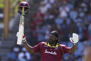 West Indies' Chris Gayle his half century.