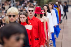 Models during the finale of Dion Lee's show.