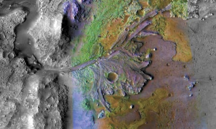 an image of the Jezero Crater taken by Nasa's Mars Reconnaissance Orbiter