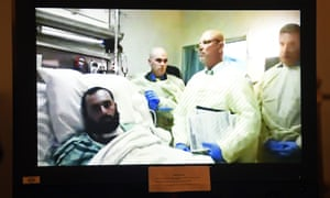 Ahmad Khan Rahimi appears via video from his hospital bed in Newark, New Jersey on 12 October 2016.