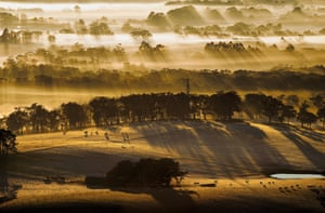 Sunrise streaks through fog as seen from Mount Buninyong, Victoria
