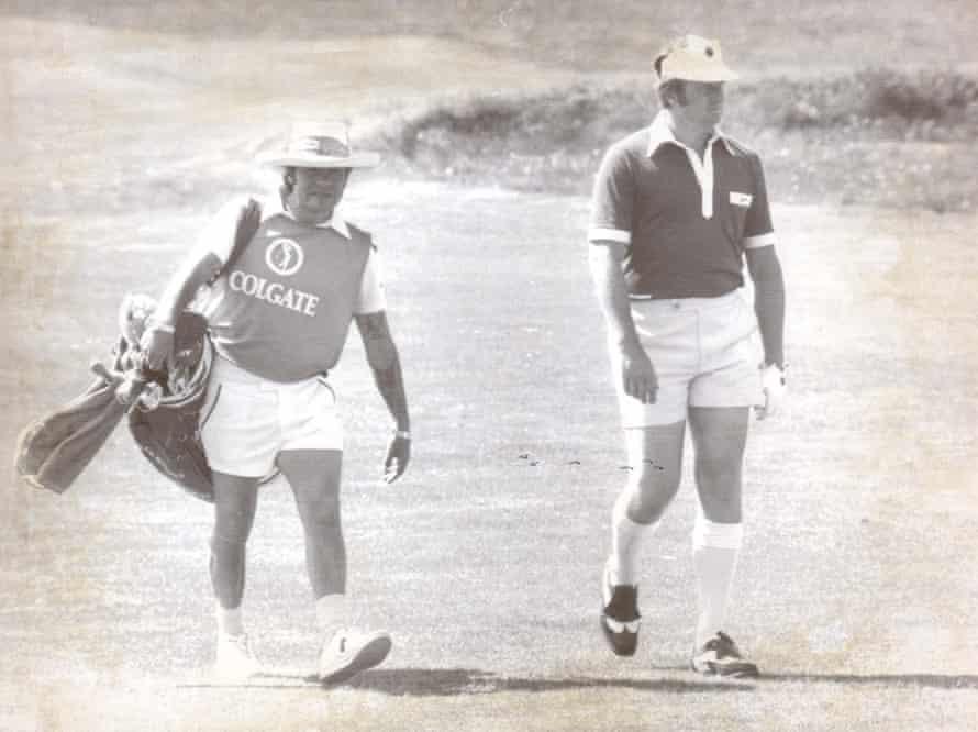 Brian Barnes and his caddie, Jim Sullivan, at the PGA championship, Royal Birkdale, 1978.