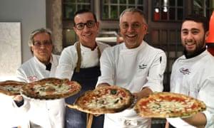 Naples' pizza heroes … Antonio Starita (left) with fellow chefs Gino Sorbillo (second left), Ciro Oliva (right) and Enzo Coccia (second).