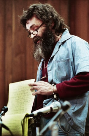 Manson reads a statement at his parole hearing in San Quentin in 1986, when he was turned down for for the sixth time