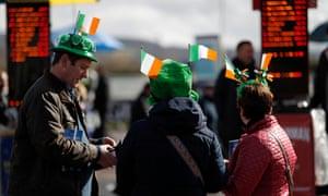 Irish fans ponder a bet during last year's Cheltenham Festival.