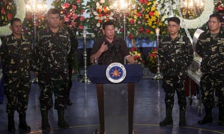 President Rodrigo Duterte with generals