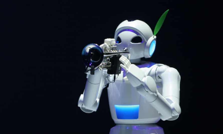 Robot plays a trumpet