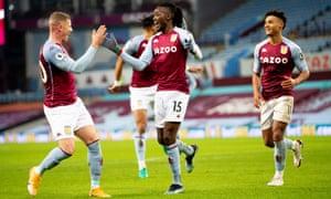 Bertrand Traoré celebrates his goal at Villa Park