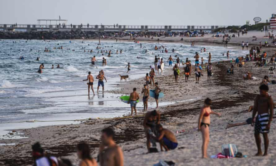 A crowded Miami Beach in Florida on Tuesday.