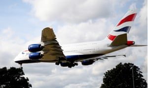 A plane approaching Heathrow airport.